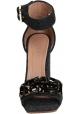 Sandalias de tacón alto Marni en gris oscuro con cristales.