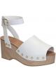 Sandalias Celine cuña de madera de piel de becerro blanco