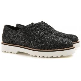 Zapatos de cordones Hogan Womens en negro brillan cuero
