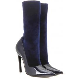 Mitad de la pantorrilla botas Balenciaga en pintura azul
