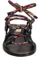 sandalias planas de cuero antracita Valentino y cordones multicolores