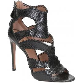 Alaïa sandalias de tacones altos en piel de pitón negro