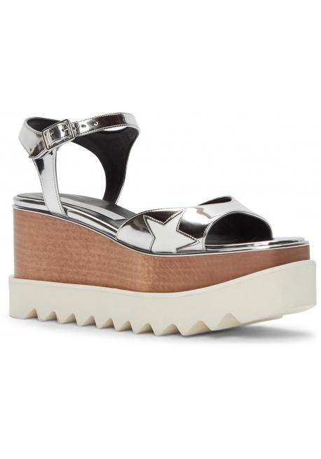 Zapatos de las sandalias de las cuñas de la plata del vegan de Stella McCartney