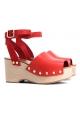 Sandalias Céline con plataforma de madera en cuero Bright Red Calf