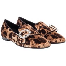 Mocasines Dolce & Gabbana en terciopelo con estampado de leopardo