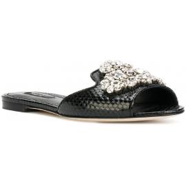 Dolce & Gabbana diapositivas planas en piel de serpiente negra con cristales