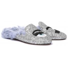 Zapatillas forradas de piel de Chiara Ferragni con purpurina plateada