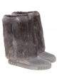 Botas a la rodilla Casadei en gamuza gris y piel