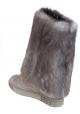 Botas de caña alta Casadei en ante gris y piel.