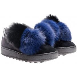 Zapatillas Philippe Model en piel y piel de ante negro.