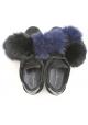 Zapatillas modelo Philippe en piel de gamuza negra y piel