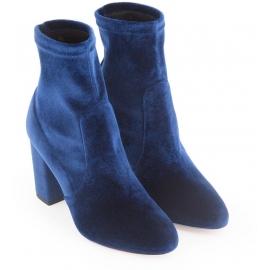 Botines de media pierna con tacón cuadrado Aquazzura en terciopelo azul