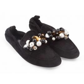 Bailarina Lanvin flats en piel de gamuza negra