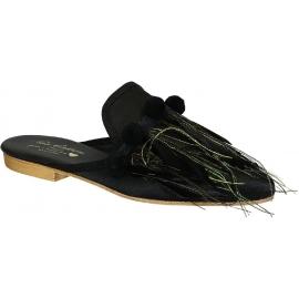 Zapatillas de mujer Gia Couture en cuero negro y tela