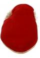 Zapatillas Gia Couture forradas de piel en terciopelo rojo.