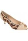 Zapatillas Dolce & Gabbana con punta abierta en piel y tela beige