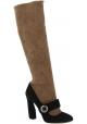 Prada botas hasta la rodilla en cuero de ante nude y negro