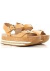 Zapatos de cuña plana Hogan sandalias en piel color cuero.