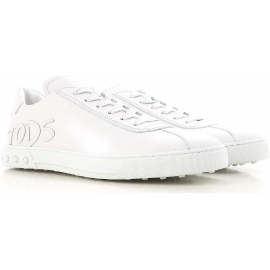 Zapatillas Tod's para hombre en piel de becerro blanca.