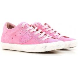 Zapatillas bajas de mujer modelo Philippe en gamuza rosa