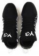 Zapatillas Kusari Y3 para hombre en piel y tela negras.