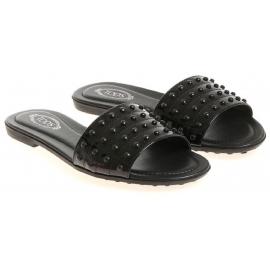 Sandalias planas de slade con charol negro de Tod's con tachuelas