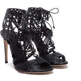 Tacón alto de noche negro Casadei zapatos sandalias