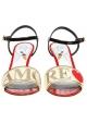 Sandalias de tacón alto Dolce & Gabbana Love en cuero y tela