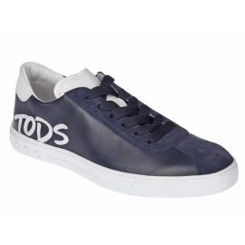 Tod's Sneakers Gommino de hombre en piel azul y ante.