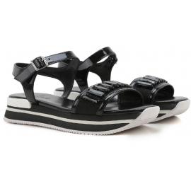 Cuero negro de Hogan cuñas de sandalias con cristales