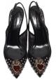 Zapatillas slingbacks Dolce & Gabbana en piel y tela negras