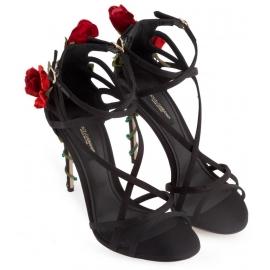 Sandalias de tacón alto Dolce & Gabbana en satén negro