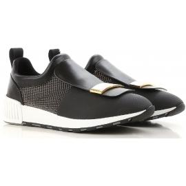 Zapatillas Sergio Rossi para mujer en piel y tejido negro.