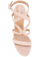 Sandalias de tacón alto Aquazzura en gamuza rosa claro.