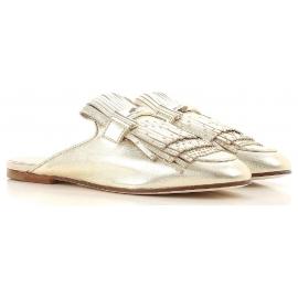 Zapatillas de mujer Tod's cerradas en piel laminada dorada.