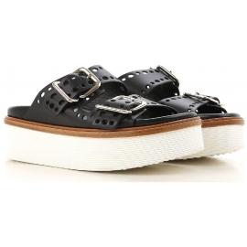 Zapatillas de mujer Tod's Cuñas en piel negra.