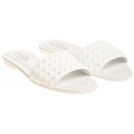 Zapatillas sandalias para mujer Tod's en charol blanco.
