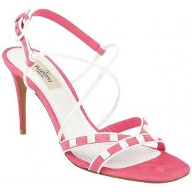Sandalias de tacón alto Valentino en gamuza rosa.
