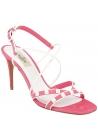 Sandalias de tacón con tacón de aguja Valentino en gamuza rosa