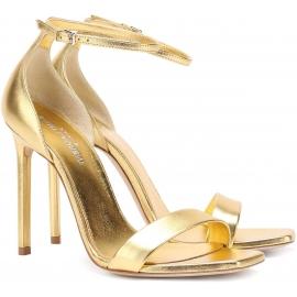 Sandalias de tacón alto Saint Laurent en cuero laminado dorado