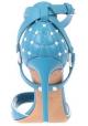 Sandalias de tacón alto Valentino en piel azul claro.