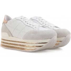 Zapatillas de deporte de tacón bajo cuñas de Hogan en piel blanca
