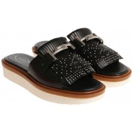 Zapatillas de mujer de Tod's con flecos en piel negra.