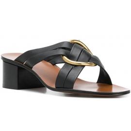 Sandalias con alto Chloé en piel negra.