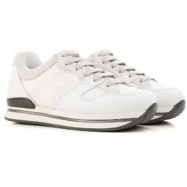 Zapatillas bajas de mujer Hogan en piel blanca.