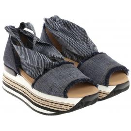Sandalias de tacón para mujer Hogan en tejido Jeans.