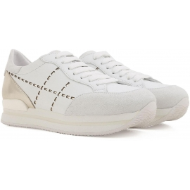 Zapatillas hogan del la mujer en cuero blanco y metalizado de plata con suela de goma alta