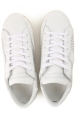 Philippe Model Zapatillas deportivas para mujer en piel blanca con perlas plateadas
