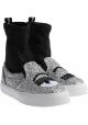 Chiara Ferragni Zapatillas deportivas para mujer en tejido plateado y brillo negro