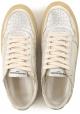 Philippe Model Zapatillas de mujer de piel laminada de platino con suela vintage